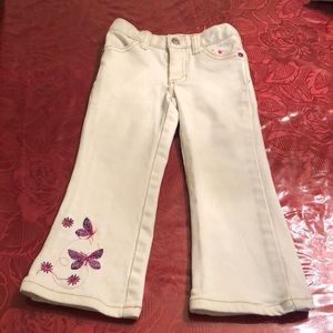 Girls 3T white jeans with butterflies